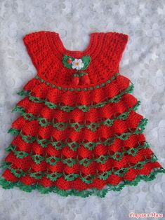 And I have a ripe strawberry Crochet Baby Jacket, Crochet Baby Dress Pattern, Crochet Doll Dress, Baby Dress Patterns, Baby Girl Crochet, Crochet Baby Clothes, Crochet For Kids, Vestidos Bebe Crochet, Diy Dress