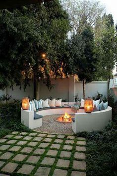 Not sure if I want a circular or square fire pit seating area at the bottom of the garden