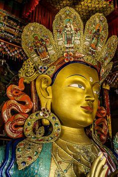 Bodhisattva Maitreya at Thiksey Monastery, Ladakh Buddha Buddhism, Tibetan Buddhism, Sanskrit, Buddha Painting, Buddha Artwork, Maitreya Buddha, Buddhist Philosophy, Tibetan Art, Religious Art