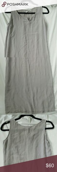 Light grey, 100% pure silk midi dress Snug, straight fit, no stretch. Beautiful, simple light grey dress that comes to about the knee. Great condition. Dresses Midi
