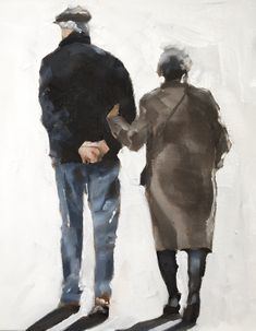 Old Couple Walking - Art Print - 8 x 10 inches - from original painting by J Coates by JamesCoatesFineArt on Etsy