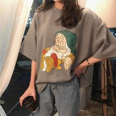 Cute Sleeping Dwarfs T-Shirt - Description: Type: T-Shirt Style: Graphic Material: Cotton Polyester Fabric Size Guide: Length: 65 cm Bust: 120 cm Shoulder: 57 cm Sleeve: 21 cm Worl. Edgy Outfits, Mode Outfits, Fashion Outfits, Hipster Outfits, Preppy Outfits, Fashion Fashion, Winter Fashion, Fashion Tips, Mode Ulzzang