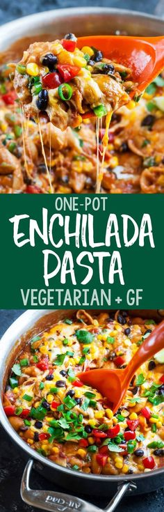 Gluten-Free One-Pot Enchilada Pasta - this tasty vegetarian dish is quick, easy, and ready to rock your plate!Healthy Gluten-Free One-Pot Enchilada Pasta - this tasty vegetarian dish is quick, easy, and ready to rock your plate! Veggie Dishes, Veggie Recipes, Pasta Dishes, Pasta Recipes, Mexican Food Recipes, Cooking Recipes, Pasta Food, Veggie Meals, Dinner Recipes