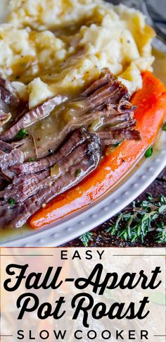 Easy Fall-Apart Pot Roast with Carrots (Slow Cooker) from The Food Charlatan. Super tender, juicy, fall-apart crock pot roast is not as hard as you think! This slow cooker recipe uses a few simple ingredients (one of them is patience) to make the most flavorful pot roast ever! #potroast #slowcooker #crockpot #roast #chuckroast #tender #juicy