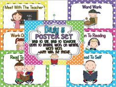 Daily 5 Poster Set-Posters or charts are a MUST. You will refer to them often... daily sometimes more than once a day.