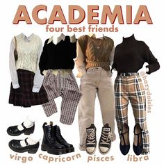 what's your fave? i love virgo (these aren't specifically outfits for the signs, it's just a made up… Retro Outfits, Grunge Outfits, Vintage Outfits, Cool Outfits, Casual Outfits, Fashion Outfits, Fashion Tips, Color Fashion, 80s Fashion