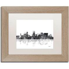 Trademark Fine Art Portland Oregon Skyline BG-1 inch Canvas Art by Marlene Watson, White Matte, Birch Frame, Size: 16 x 20, Brown