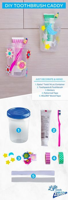 Organize your child's bathroom with these easy DIY toothbrush caddies. Just decorate a Ziploc®️️ Twist 'n Loc with your kid's favorite stickers and colors, then mount it to the bathroom wall. Kids will have fun personalizing their tooth brushing cup and get excited and motivated to brush their teeth! Plus you'll free up valuable bathroom counter space and reduce clutter with these adorable caddies!