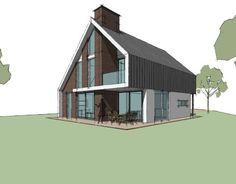 Speelse karakter aan de buitenkant, lijnen van de eerste etage en hoekje bij terras (wel klein). Variatie in kleuren, natuurtinten, passen bij elkaar.