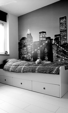 33 perfect bedroom decor for apartment small space area 19 - Home Style Teen Boy Rooms, Teenage Room, Teen Girl Bedrooms, Bedroom Themes, Bedroom Decor, Bedroom Ideas, City Theme Bedrooms, Bedroom Furniture, Kid Furniture