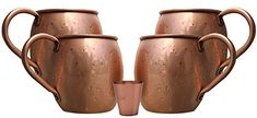 Buy Melange 16 Oz Copper Barrel Mug for Moscow Mules, Set of 4 with One Shot Glass - Heavy Gauge - No Lining - Includes Free Recipe Card Recipe Cards, Moscow Mule Mugs, Gauges, Free Food, Shot Glass, Barrel, Copper, Tableware, Recipes