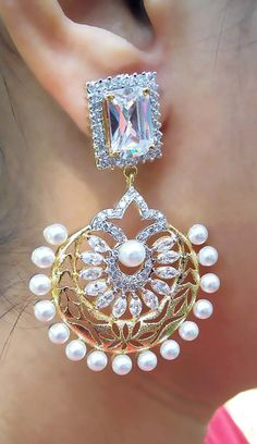 Elegant AD & Pearl Earrings