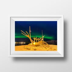 Sun Voyager & The Northern Lights / Reykjavik / Aurora / Northern Lights / Night Sky / Iceland / Travel by MartynHeathPhoto on Etsy