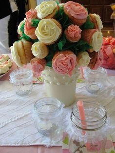 Cupcake bouquet for shabby chic baby shower