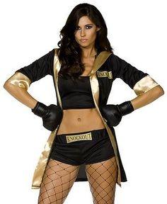 Para Mujer campeón de boxeo Disfraz Negro/oro Boxer Robe Disfraz Guantes Cortos Adulto