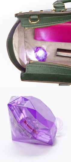 Gem purse light // just shake or tap the bag and this little gem will instantly illuminate the inside of any tote, backpack or carry-on, so you can quickly find your gear! #product_design