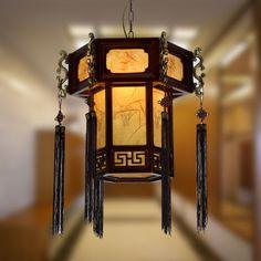 stile cinese ciondolo luce lampade classiche lanterne antiche lampada in legno camera ristorante lampada studio lampada luci corridoio di luce