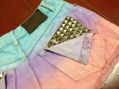 Dip Tie Dyed Ombre Light Blue Purple Pink Bleach Woman Dye Denim Studded High Waist Studded Levi Shorts by pingypearshop on Etsy https://www.etsy.com/listing/164274088/dip-tie-dyed-ombre-light-blue-purple