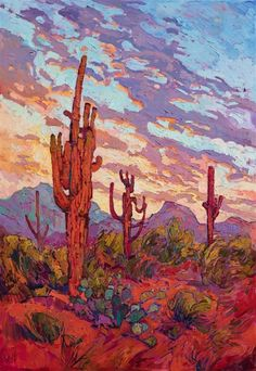 Scottsdale Saguaro desert commission oil painting by modern oil painter Erin Hanson