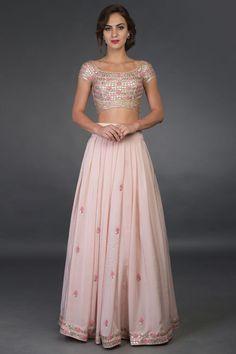 Nude Pink Resham and Gota Patti Hand Embroidered Lehenga Pink Lehenga, Indian Lehenga, Bridal Lehenga, Floral Lehenga, Lehenga Blouse, Designer Dress For Men, Indian Designer Outfits, Designer Dresses, Indian Wedding Outfits