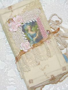 I& so far behind on showing you all the fun things I& been doing. I participated in a French Ephemera Journal swap in the Marie Ant. Fabric Ribbon, Fabric Art, Fabric Books, Scrap Books, Handmade Journals, Handmade Books, Journal Covers, Art Journal Pages, Altered Books