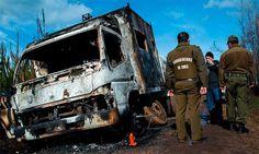 Protestan en Chile con camiones quemados