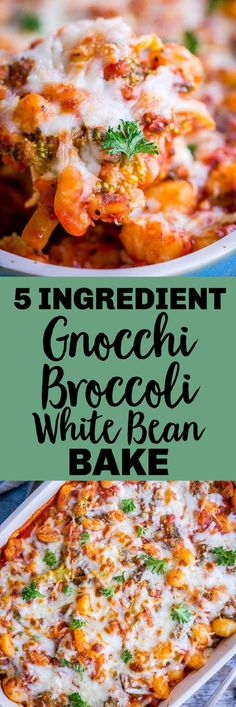 All you need for this 5 Ingredient Gnocchi, Broccoli and White Bean Bake is gnocchi, broccoli, white beans, tomato sauce and cheese! It's ready in just about 30 minutes and is a filling, healthy and… Vegetarian Recipes Dinner, Veggie Recipes, Whole Food Recipes, Cooking Recipes, Healthy Recipes, Dinner Healthy, Delicious Recipes, Pasta Recipes, Vegan Menu