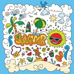 """""""hand drawn set summer elements"""" by Chris olivier Framed Prints, Canvas Prints, Art Prints, Wall Drawing, Vector Photo, Hand Drawn, How To Draw Hands, Doodles, Colouring"""