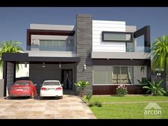 10 Marla House Design for your Dream Home. In Pakistan, a 10 marla plot generally covers an area of 30 by 75 feet, totaling around sq 3d House Plans, Indian House Plans, Modern House Plans, Modern Houses, House Front Wall Design, House Outside Design, Modern Exterior House Designs, Exterior Design, Bungalow Exterior