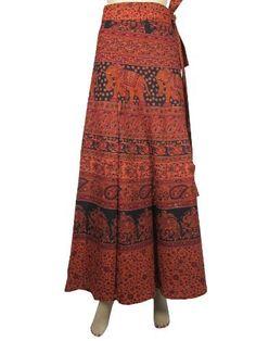 Long Indian Wrap Skirt Gypsy Boho Orange Black Elephant Floral Print Cotton Wrap Around Skirt Mogul Interior, http://www.amazon.com/dp/B009RI83SW/ref=cm_sw_r_pi_dp_MDZFqb1HCS6GP