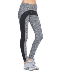 Look what I found on #zulily! Mono B Activewear Gray & Black Color Block Slim-Fit Leggings by Mono B Activewear #zulilyfinds