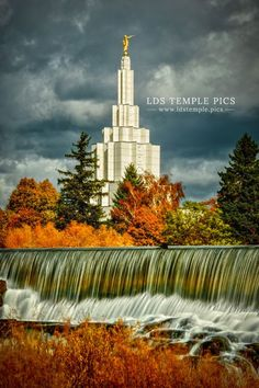 """Nestled With """"The Falls & Autumn Colors""""; Here Captured In Time, (The Idaho Falls, Idaho L.D.S. Temple.)"""