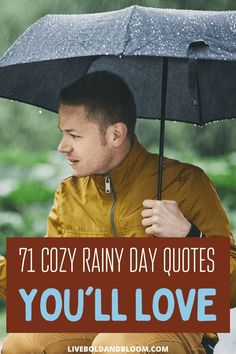 Snuggled up in your bed in rainy cozy weather? Read this list of 71 rainy day quotes get you into a better mood. Girl Quotes, Woman Quotes, Book Quotes, Walking In The Rain, Singing In The Rain, Cozy Rainy Day, Rainy Day Quotes, Beautiful Quotes From Books, Happy At Work