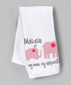 Take a look at this White & Pink Elephant Personalized Burp Cloth by Heavenly Wear on #zulily today!
