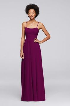 The barely there spaghetti straps and flowing skirt on this long chiffon bridesmaid dress make it a romantic choice. Gentle draping graces the bodice and skirt.  Polyester  Back zipper; fully lined  Dry clean  Imported  Also available in Extra Length