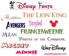 Disney Fonts for Fre