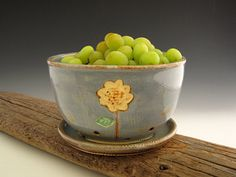 Berry Bowl in Rustic Blue with Tall Sunflower by DirtKickerPottery, $45.00