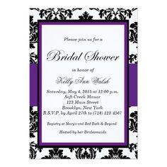 "Black and Purple Damask Bridal Shower Invitation 5"" X 7"" Invitation Card"