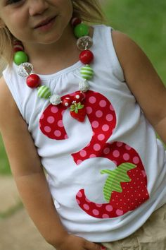 Strawberry Shirt or Tank Top -- Strawberry Shortcake -- red and hot pink number with hand cut strawberry on Etsy, $23.00