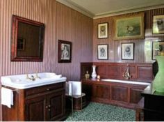 a bathroom at the Chateau de Groussay which was built in 1815 for the Duchesse of Charost, the daughter of Madame de Tourzel, the governess of the children of King Louis XVI and Marie-Antoinette;  in 1952, two wings were added,