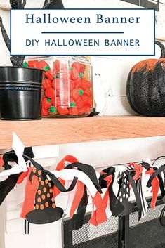 Learn how to make this adorable Halloween scrappy rag banner from Everyday Party Magazine #Halloween #DIYHalloweenDecor