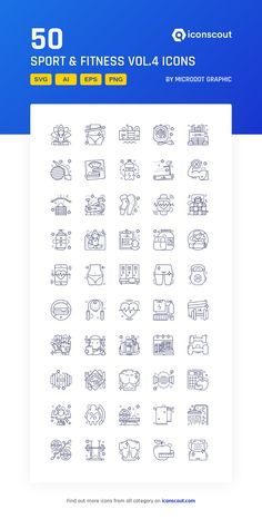 Sport & Fitness Icon Pack - 50 Line Icons All Icon, More Icon, Web Design, Flat Design, Icon Pack, Icon Font, Gym Workouts, Icons, Messages