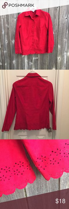 """""""Velvety"""" Red Polyester Blouse With Scalloped Edge Stunning color red button down blouse. Outside photo shows it best ... it almost glows. Says small, but it runs larger (Med to Large, even. Happy to get measurements. Really pretty. Sag Harbor Tops Blouses"""