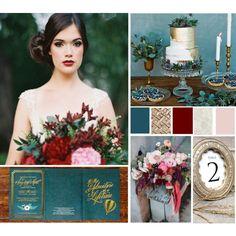 Rich Tone Wedding Palette (teal, gold, oxblood, ivory, blush)