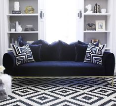 Are you curious on how a single push of a button, no heavy lifting, mail-order sofa works? Here's my personal experience with the Kits Sofa from Article. Art Deco Living Room, Living Room Sofa, Navy Leather Sofa, Americana Living Rooms, Brick Wall Decor, Blue And White Rug, Kit S, Mid Century Modern Sofa, Scandinavian Furniture