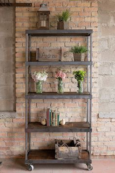 Beautiful Handmade Vintage Industrial Shelf