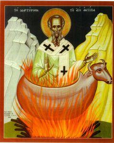 The Martyrdom of St. Antipas / Το Μαρτύριο του Αγίου Αντίπα Church Interior, Orthodox Icons, Princess Zelda, Disney Princess, Christianity, Disney Characters, Fictional Characters, Saints, Symbols