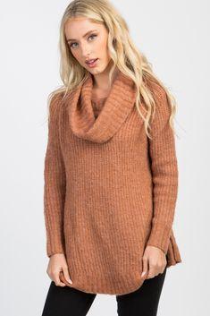 PinkBlush - Where Fashion Meets Motherhood Maternity Sweater, Knit Cowl, Cardigan Fashion, Long Sweaters, Cowl Neck, Turtle Neck, Cardigan Styles, Rust, Knitting