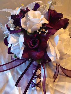Round Wedding Bridal Bouquet Package Plum Purple Tiger Lily Silk Rose 21pc  | eBay