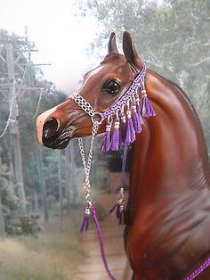 F29 - LSQ Hand Braided Arabian Halter made to fit Peter Stone,Breyer Model Horse